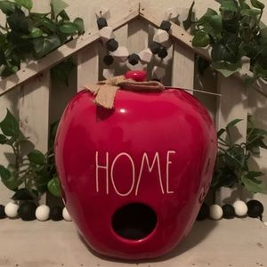 Rae Dunn red Apple shaped birdhouse Home